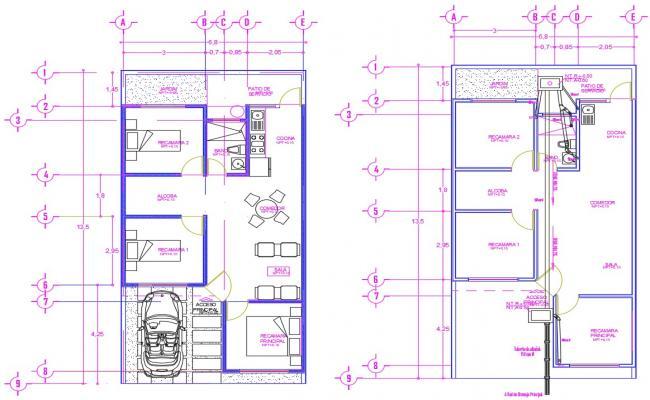 Bungalow plan AutoCAD design