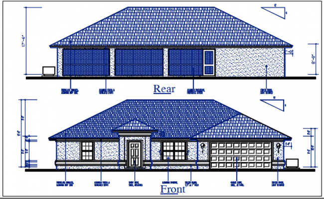 Bungalow plan Front elevation and rear elevation view of dwg file