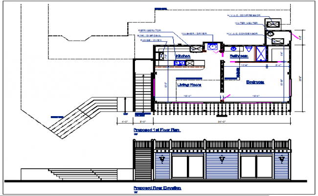 Bungalow plan and bungalow elevation view details dwg file