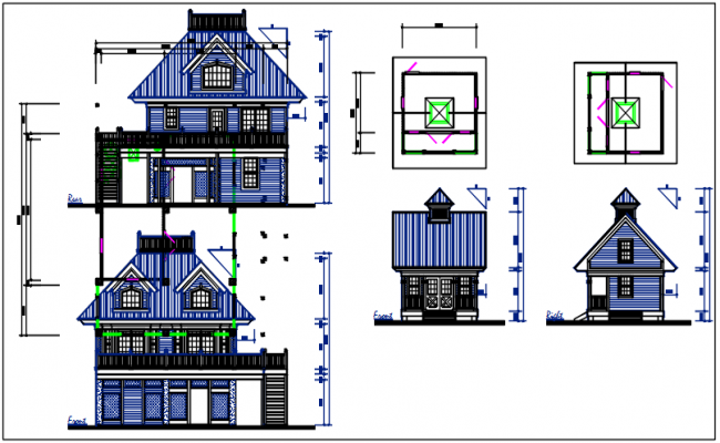 Bungalow plan and elevation detail dwg files