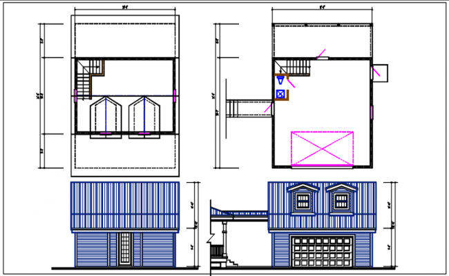 Bungalow plan and elevation details dwg files