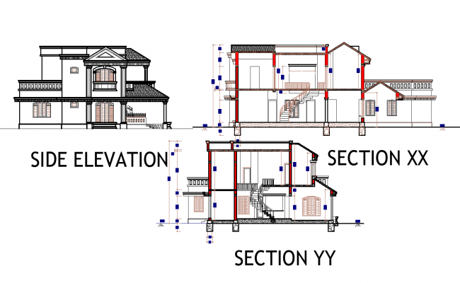 Bungalow plan detail dwg file,