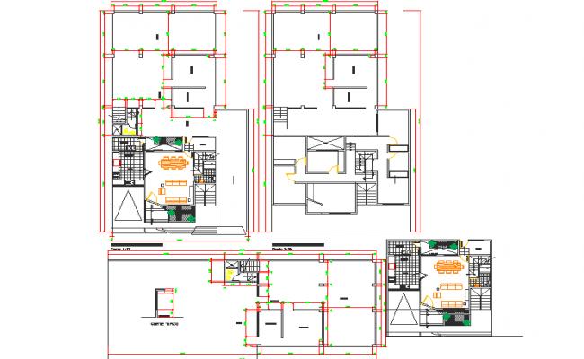 Bungalow plan detail dwg file