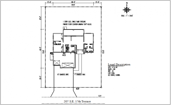 Bungalow plan details dwg files