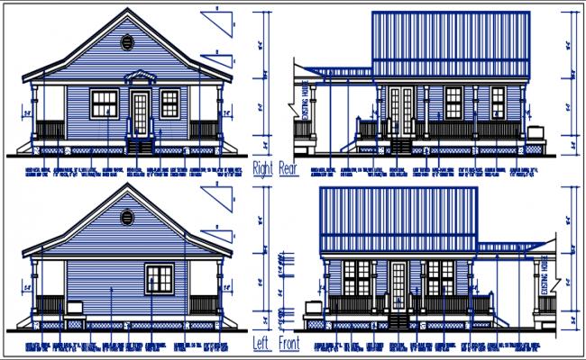 Bungalow plan elevation details dwg file