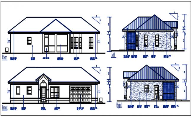 Bungalow plan elevation details dwg files