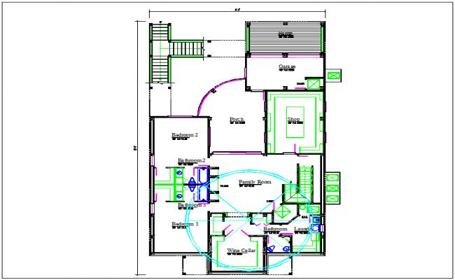 Bungalow plan layout view detail dwg file