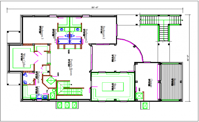Bungalow plan layout view detail dwg file