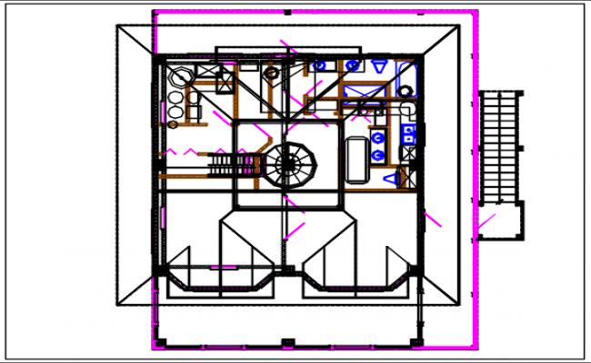 Bungalow plan view details dwg file