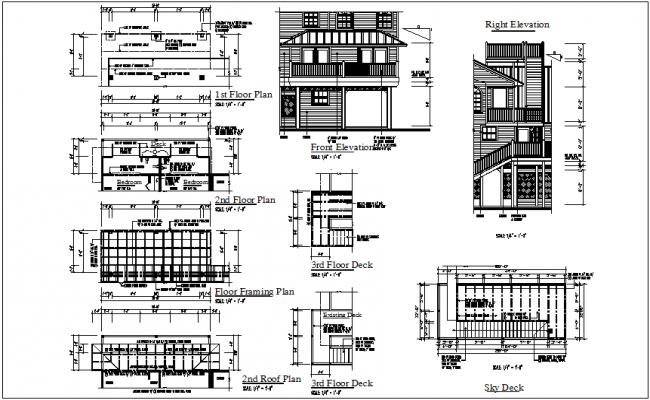 Bungalow plan view details dwg files