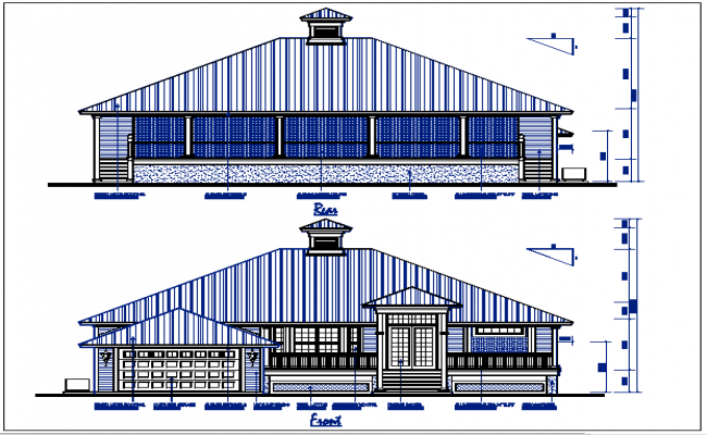 Bungalow plan view with dimension detail dwg file
