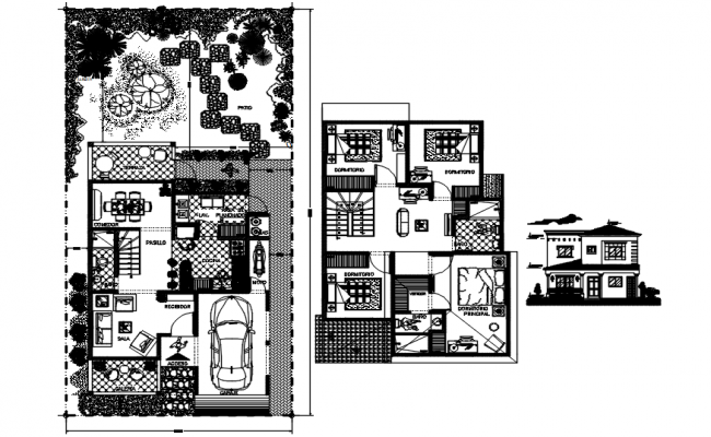 Bungalow plan with elevation details in dwg file