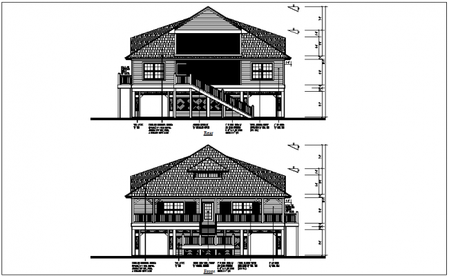 Bungalow rear and front view dwg file
