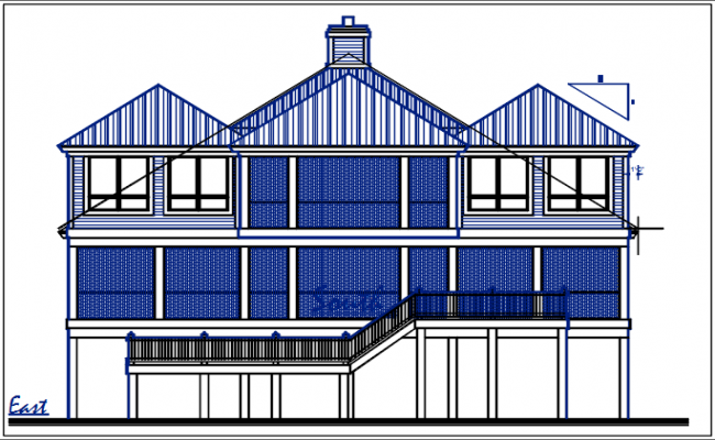 Bungalow west elevation view dwg file