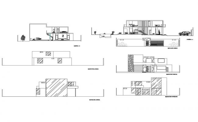 Bungalow with elevation and section in dwg file