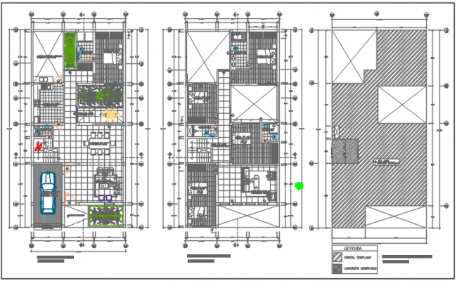 Bungalow working plan detail dwg file