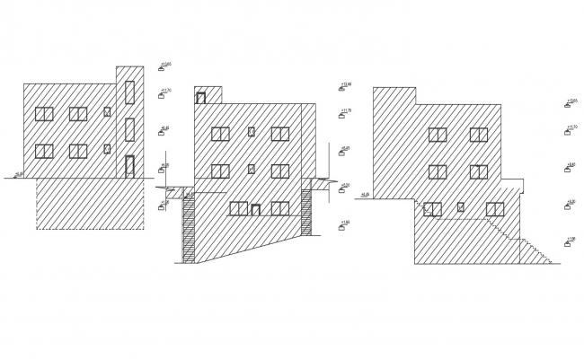 Bungalow Elevation Design AutoCAD Drawing