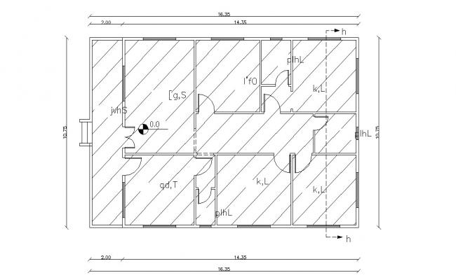 Bungalow Layout Design With Dimension AutoCAD File