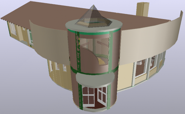 Bungalows 3d design with architectural view dwg file
