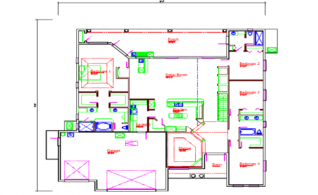 Bungalows Lay-out detail in cad file