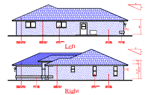 Bungalows Left & Right Elevation cad file