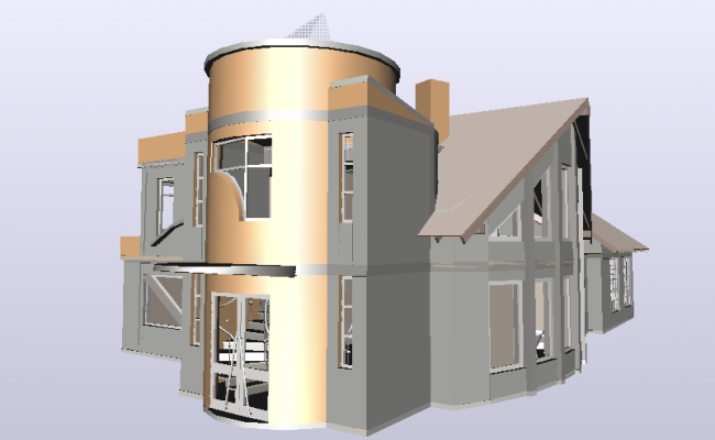 Bungalows design in 3d with architectural view dwg file