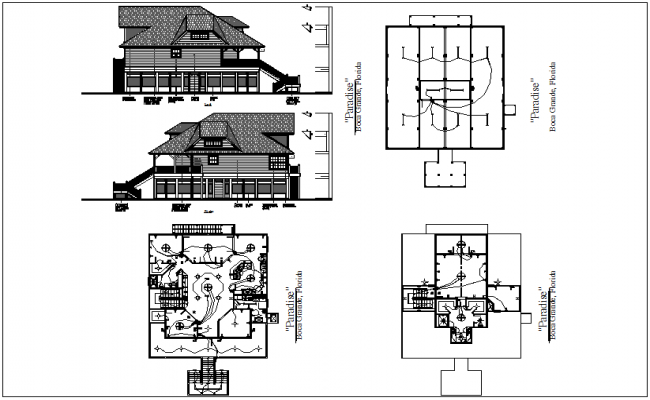 Bungalows floor plan with electrical view ,left and right view dwg file