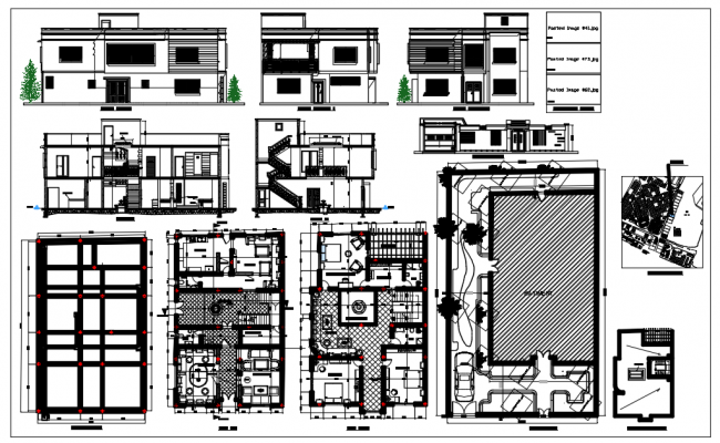 Bungalows of 3 bedroom floor plan and elevation with architecture view dwg file