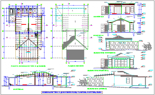 Bungalow Plan Elevation Section : Bungalows of beach area plan ceiling elevation and