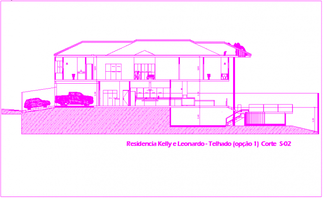 Bungalows sectional view dwg file