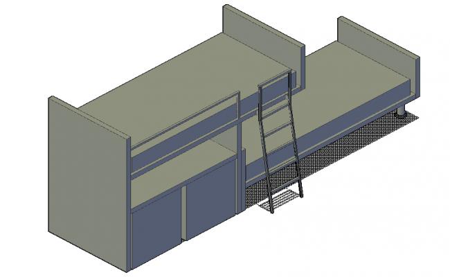 Bunk bed elevation 3d detail
