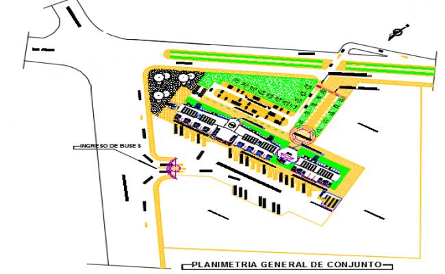 Bus station site plan detail dwg file
