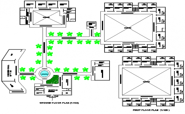 Business hub First-floor plan and second-floor plan detail dwg file