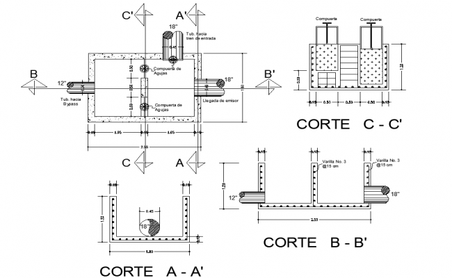 By pass flow tank plan and section dwg file
