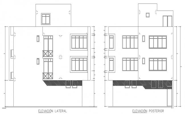CAD 2d drawings elevation of building apartment dwg file