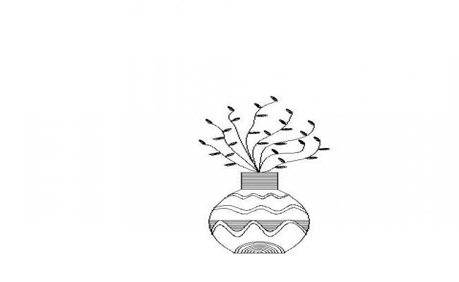 CAD Block for Flower Vase