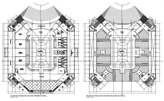 CAD Drawing Two Floor Plans Of Sports Center AutoCAD File