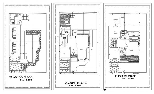 CAD drawing details 2d plan of housing bungalow floor plan dwg file