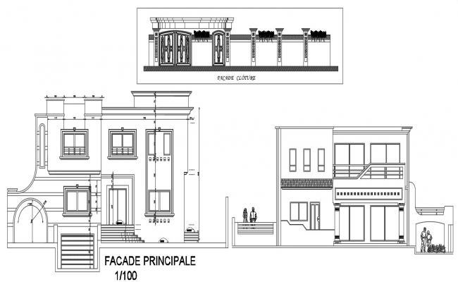 CAD drawing details 2d plan of housing bungalow floor plan dwg file