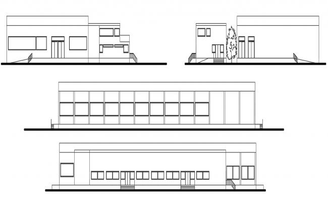 CAD drawings details of milk industry building elevation dwg file