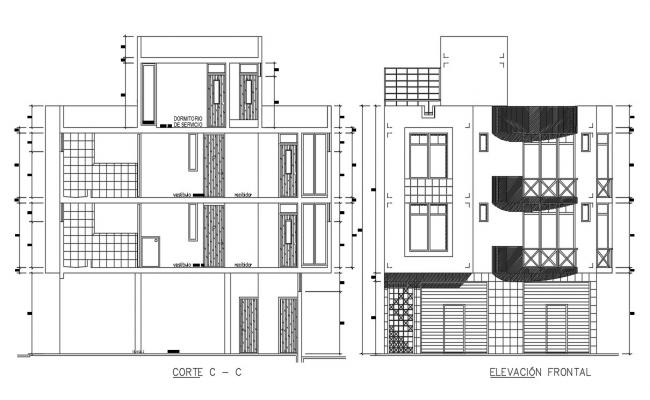 CAD elevation and section 2d drawings of housing apartment dwg file