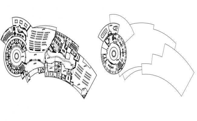 CAD floor details 2d layout plan of commercial building hub dwg file