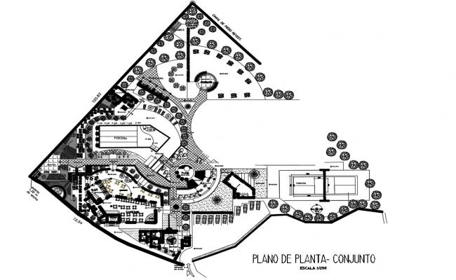CAD layout 2d plan of hotel building area details in autocad file