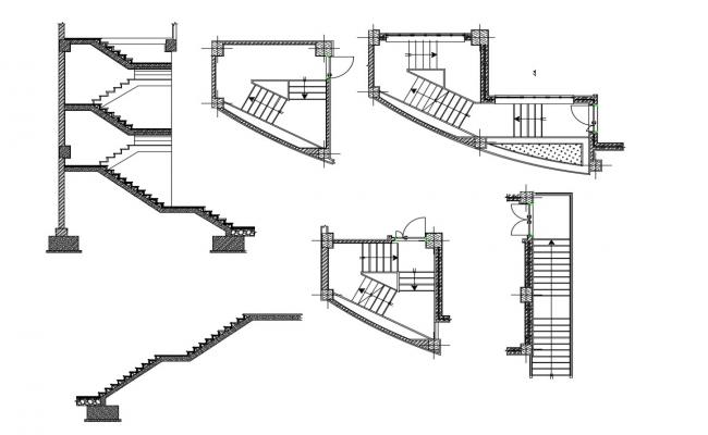 CAD plan and elevation and stairway construction dwg file