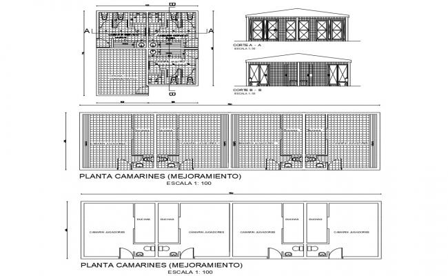 CAD plan and elevation drawings of sanitary public toilet dwg file
