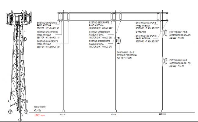 Cabacungan city regional electric tower installation details dwg file