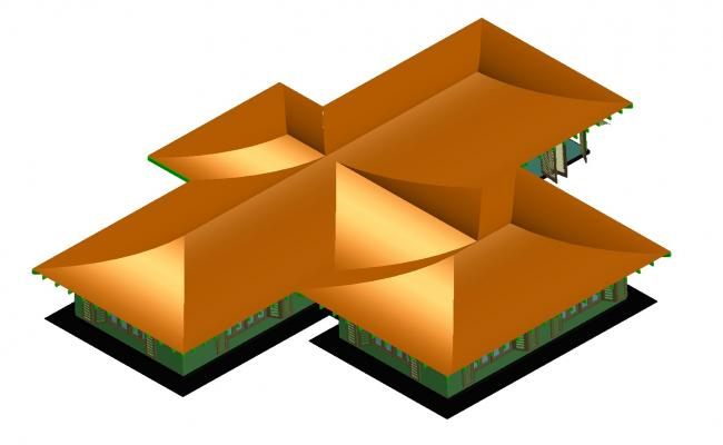 Cabin 3D plan detail dwg file.