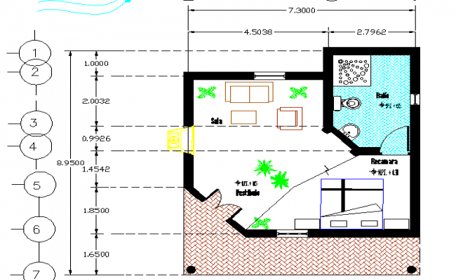 Cabin Layout with furniture detail dwg file.