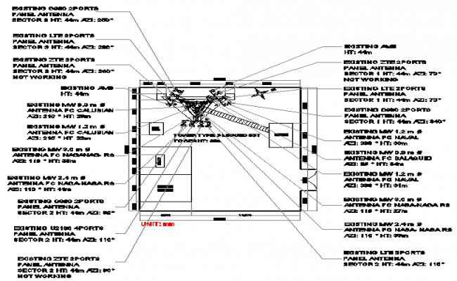 Cabin and structure details of region electric tower details dwg file