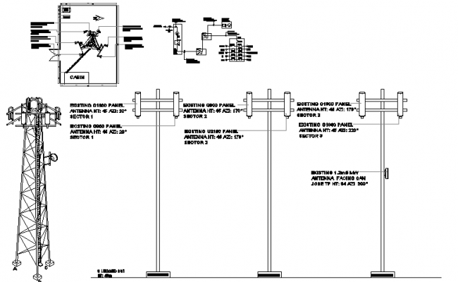 Cabin design of tower with structure and electric tower installation dwg file